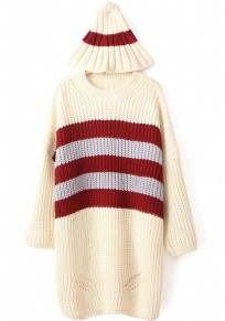 Beige Striped Print Loose Pullover
