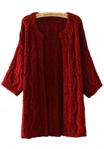 Red Plain Hollow-out Cardigan