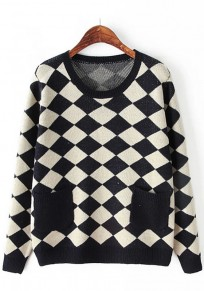 Navy Blue Geometric Pockets Pullover