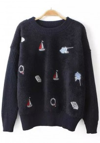 Navy Blue Patchwork Sailboats Embroidery Pullover Sweater
