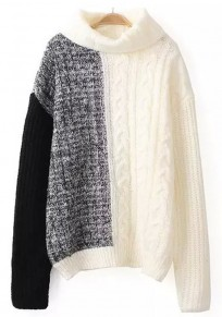 White Patchwork High Neck Pullover Sweater