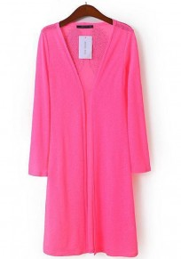 Bright Pink Plain Diamond Long Sleeve Cardigan