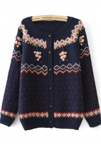 Navy Blue Geometric Embroidery Long Sleeve Sweater