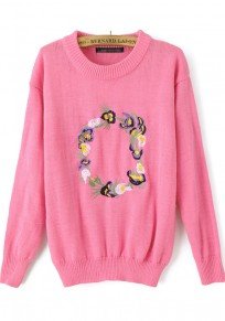 Pink Flowers Embroidery Long Sleeve Sweater
