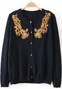 Navy Blue Plain Embroidery Long Sleeve Cardigan
