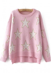 Pink Star Print Bright Wire Irregular Pullover