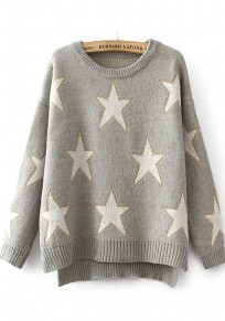 Grey Star Print Bright Wire Irregular Pullover