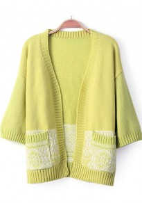 Yellow-Green Print Pockets Half Sleeve Cardigan