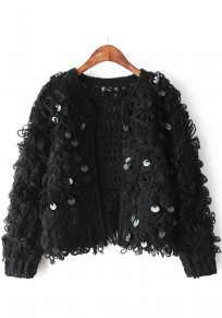 Black Plain Sequin Cardigan
