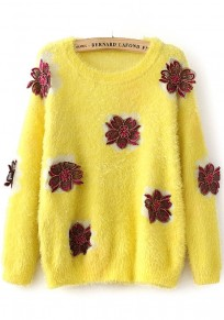 Yellow Flowers Appliques Pullover