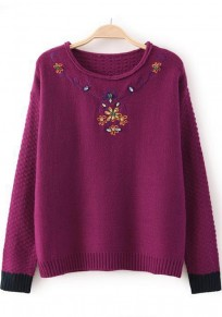 Wine Red Flowers Embroidery Beading Pullover