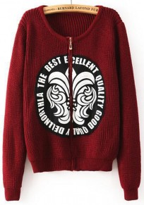 Wine Red Print Appliques Cardigan