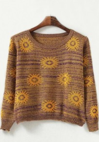 Yellow Flowers Print Pullover