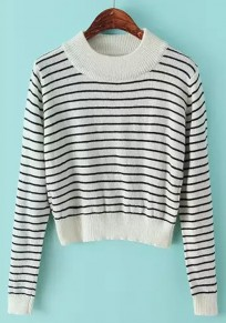 White Striped Long Sleeve Pullover