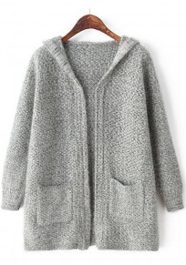 Light Grey Plain Pockets Cardigan