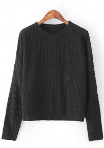 Black Plain Hollow-out Pullover