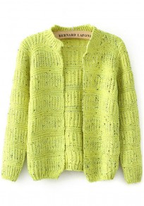 Yellow Plain Hollow-out Cardigan
