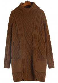 Brown Plain Pockets Band Collar Pullover Sweater
