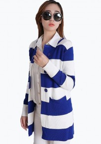 Blue Striped Buttons Long Sleeve Cardigan