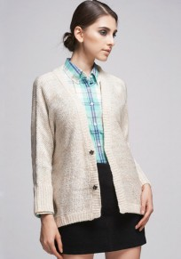Beige Plain Sequin Irregular Knit Cardigan