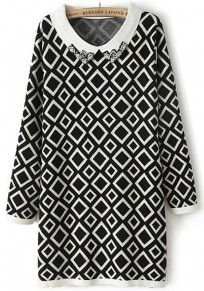 White Diamond Print Beading Knit Pullover