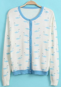 Blue Swan Print Long Sleeve Cardigan
