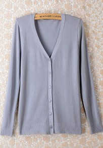 Grey Plain Buttons Long Sleeve Cardigan