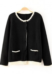 Black Plain Pockets Long Sleeve Knit Cardigan