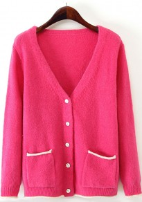 Red Plain Pockets Single Breasted Cardigan