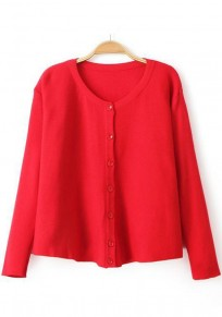 Red Plain Single Breasted Cardigan