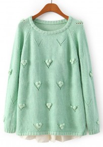 Green Patchwork Lace Pullover