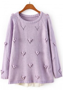 Purple Patchwork Lace Pullover