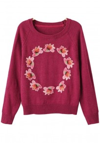 Rose-Carmine Flowers Embroidery Pullover