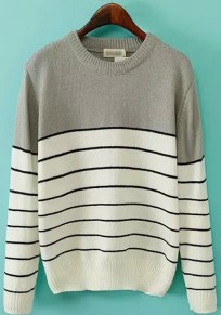 Grey Striped Print Loose Pullover Sweater