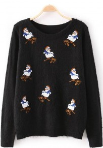 Black Bird Embroidery Print Pullover Sweater