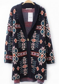 Navy Blue Floral Print Buttons Cardigan