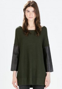 Army Green Patchwork PU Leather Pullover