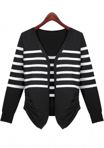 Black Striped Irregular Single Breasted Cardigan