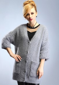 Grey Plain Single Breasted Cardigan