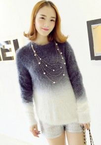 Navy Blue Gradient Color Mohair Knit Pullover Sweater