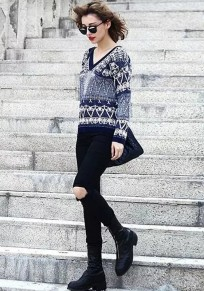 Navy Blue Floral Print V-neck Knit Pullover Sweater