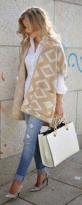 Apricot Geometric Print Hooded Knit Vintage Cardigan Sweater