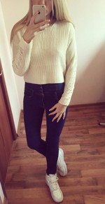 White Plain Hollow-out Round Neck Fashion Pullover Sweater