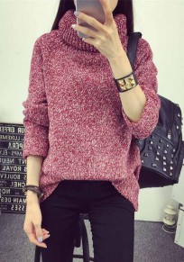 Red Plain Band Collar Long Sleeve Pullover Sweater