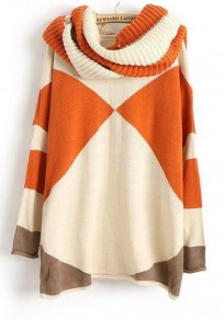 Beige-Orange Patchwork Color Block Print Round Neck Long Sleeve Fashion Sweater