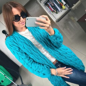 Blue Geometric Cable Knit Long Sleeve Fashion Cardigan Sweater