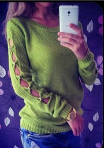 Green Plain Collarless Round Neck Long Sleeve Pullover Sweater