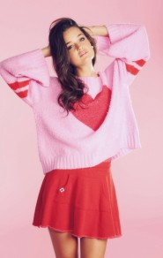 Pink Love Striped Print Round Neck Sweet Pullover Sweater