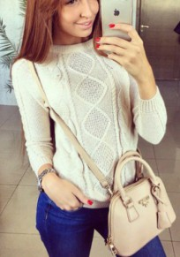 White Geometric Irregular Round Neck Loose Casual Pullover Sweater