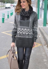 Grey Geometric Print Round Neck Loose Fashion Pullover Sweater